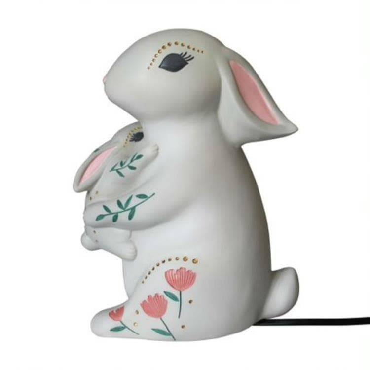 House Of Disaster Veilleuse lumineuse House Of Disaster BABY AND MUM RABBIT-Lampe à poser LED lapins Résine H23cm Gris