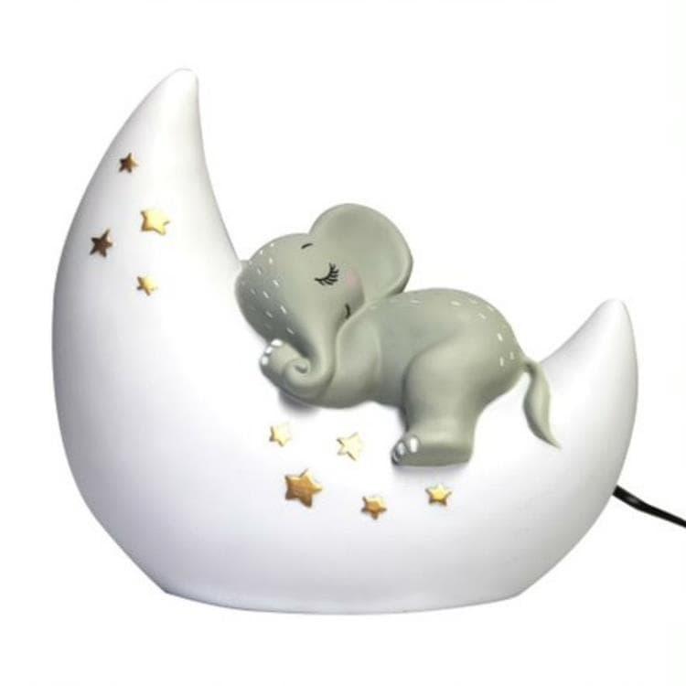 House Of Disaster Veilleuse lumineuse House Of Disaster ELEPHANT-Lampe à poser LED éléphant sur lune Résine H20cm Blanc