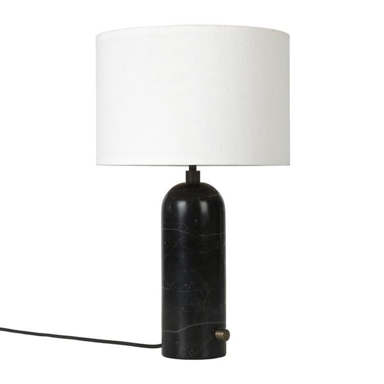 GUBI Lampe à poser GUBI GRAVITY SMALL-Lampe à poser avec variateur Marbre/Textile H49cm Noir