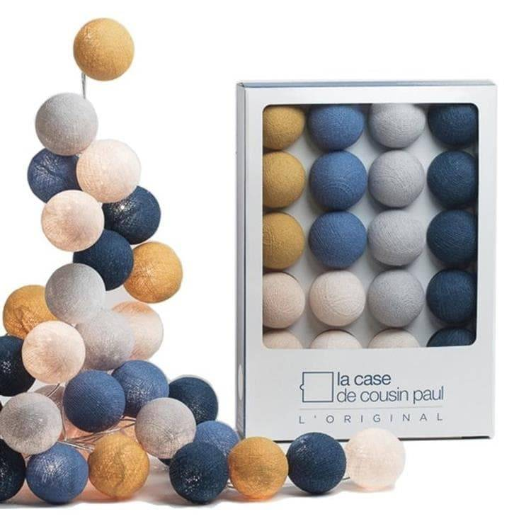 La Case de Cousin Paul Guirlande lumineuse La Case de Cousin Paul GRACELAND-Coffret Guirlande lumineuse 20 Boules L'Original L2,9m Bleu