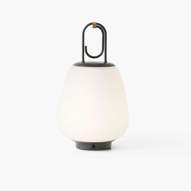 & Tradition Lampe à poser extérieur & Tradition LUCCA SC51-Baladeuse d'extérieur LED rechargeable avec variateur Métal/Verre H35cm Gris