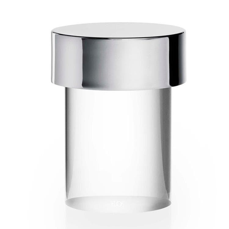 Flos Lampe à poser extérieur Flos LAST ORDER-Lampe à poser d'extérieur LED sans fil en Verre Transparent avec variateur H14cm Argenté