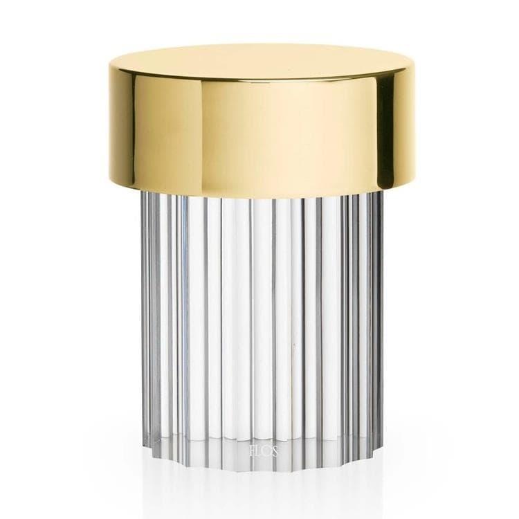 Flos Lampe à poser extérieur Flos LAST ORDER-Lampe à poser d'extérieur LED sans fil en Verre strié avec variateur H14cm Laiton