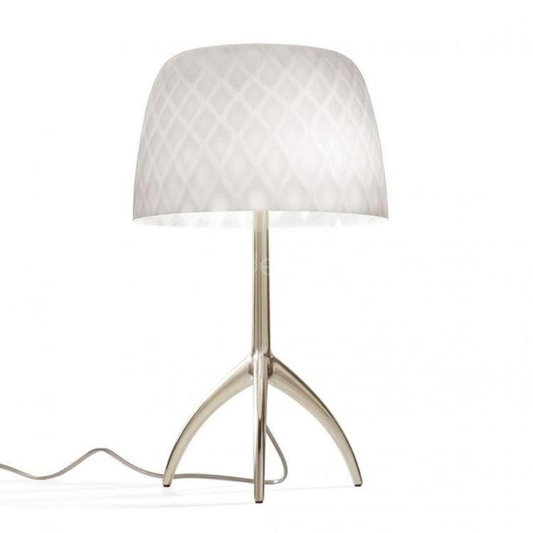 Foscarini Lampe à poser Foscarini LUMIERE 30TH GRANDE-Lampe à poser Tripode Métal & Verre avec Variateur H45cm Pastilles Beige