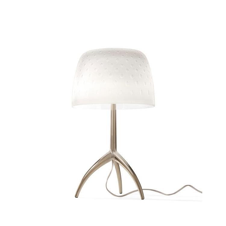 Foscarini Lampe à poser Foscarini LUMIERE 30TH PICCOLA-Lampe à poser Tripode Métal & Verre avec Variateur H35cm Bulles Beige