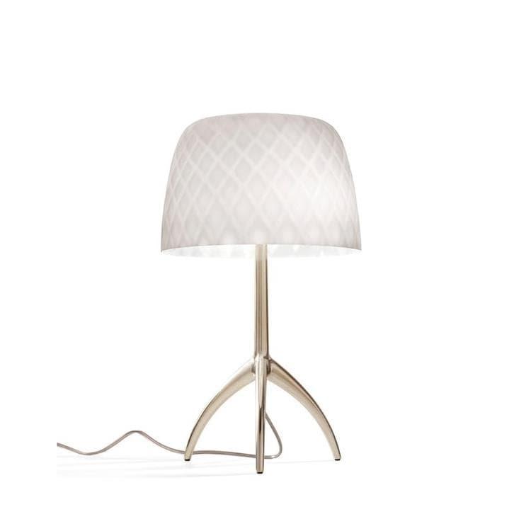 Foscarini Lampe à poser Foscarini LUMIERE 30TH PICCOLA-Lampe à poser Tripode Métal & Verre avec Variateur H35cm Pastilles Beige