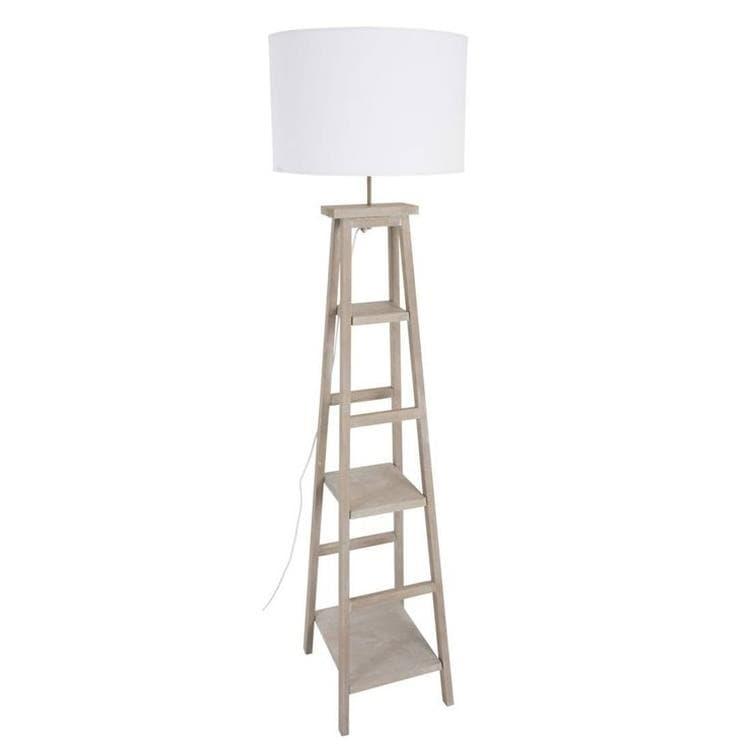 Corep Lampadaire Corep BOOKY-Lampadaire avec étagères Bois & Coton blanc H162cm Blanc