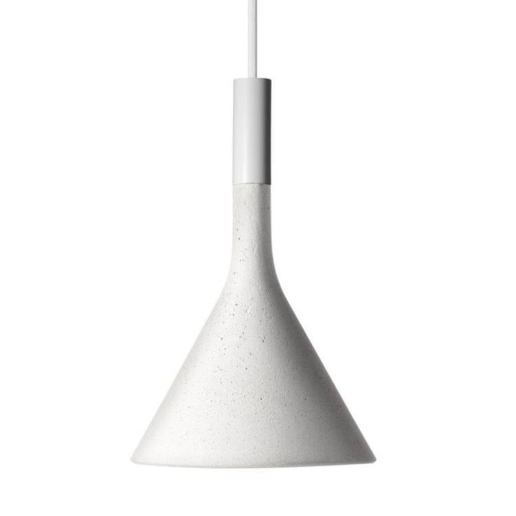 Foscarini Suspension Foscarini APLOMB MINI-Suspension Ciment ampoule LED Ø11,5cm Blanc