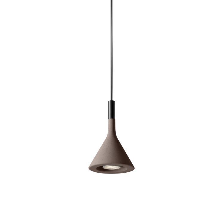 Foscarini Suspension Foscarini APLOMB MINI-Suspension Ciment ampoule LED Ø11,5cm Marron