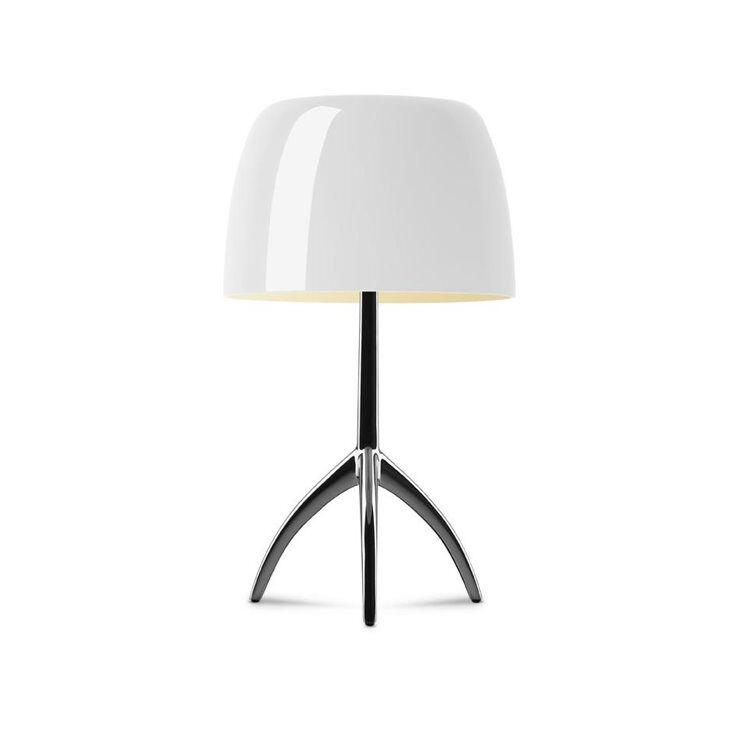 Foscarini Lampe à poser Foscarini LUMIERE PICCOLA-Lampe à poser Tripode Métal & Verre avec Variateur H35cm Beige