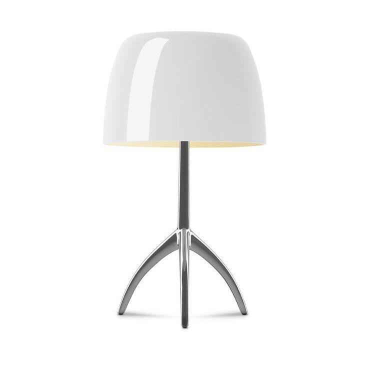 Foscarini Lampe à poser Foscarini LUMIERE GRANDE-Lampe à poser Tripode Métal & Verre avec Variateur H45cm Beige