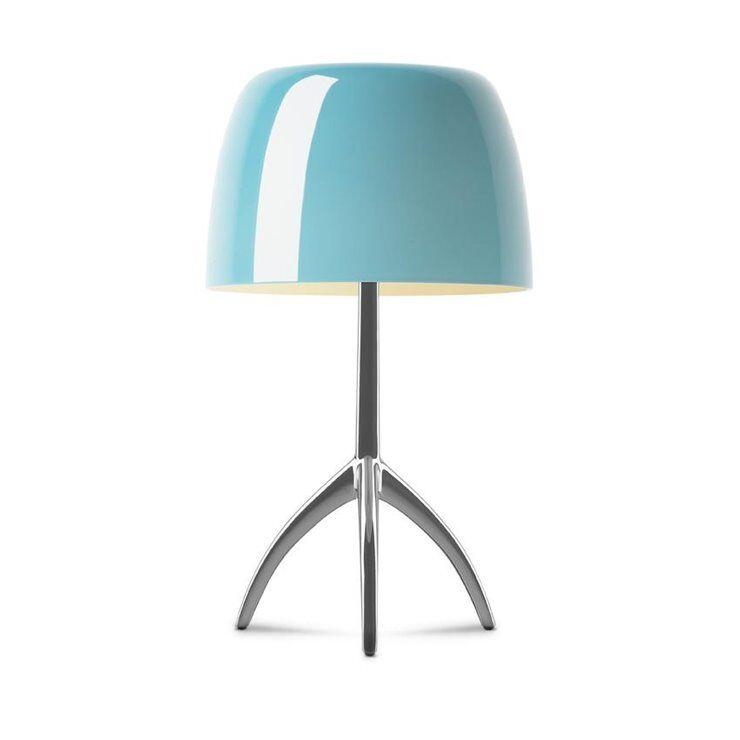 Foscarini Lampe à poser Foscarini LUMIERE GRANDE-Lampe à poser Tripode Métal & Verre avec Variateur H45cm Bleu