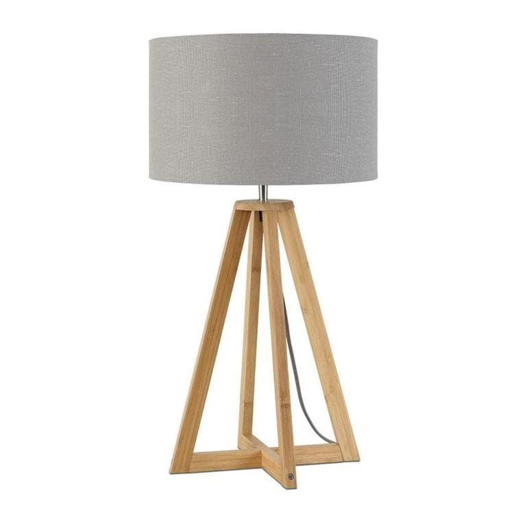 Good & Mojo Lampe à poser Good & Mojo EVEREST-Lampe à poser Bambou & Lin Naturel H34cm Gris