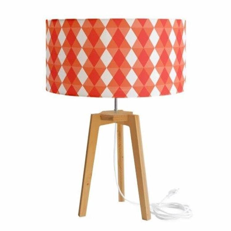 Mademoiselle Dimanche Lampe à poser Mademoiselle Dimanche KALEIDOSCOPE-Lampe à poser Tissu motifs Trepied Chêne H58cm Orange