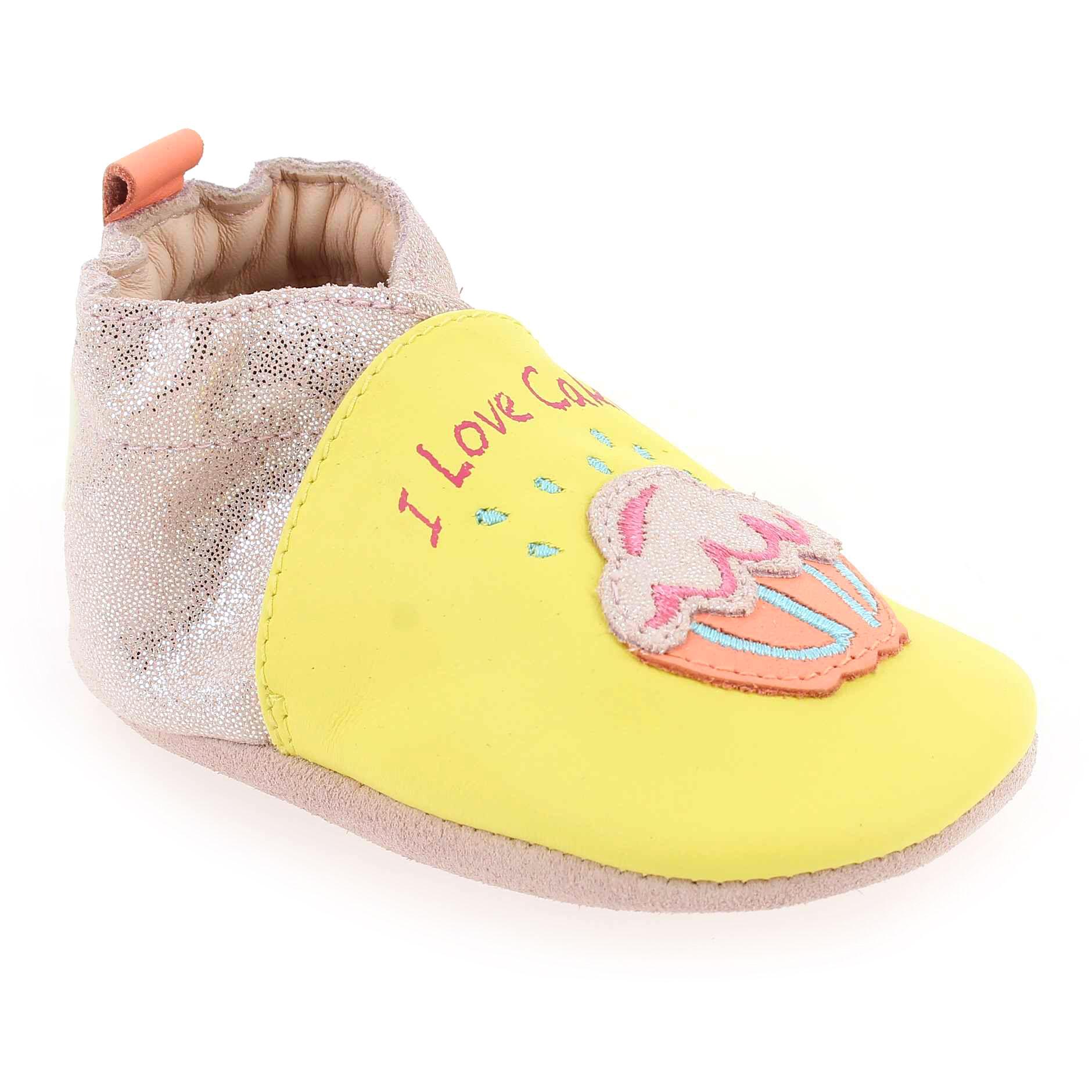 Robeez Promo - Robeez SWEET CAKE Jaune pour Bébé fille, Enfant fille en Cuir - Cuir - 06-12 mois,12-18 mois,18-24 mois