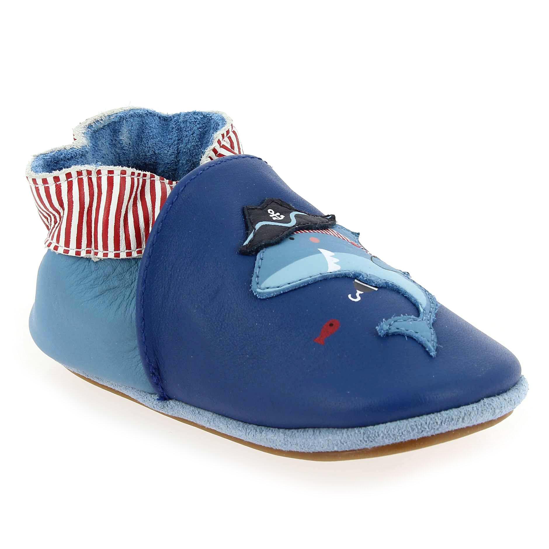 Robeez Promo - Robeez PIRATE SHARK Bleu pour Enfant garçon, Bébé garçon en Cuir - Cuir - 00-06 mois
