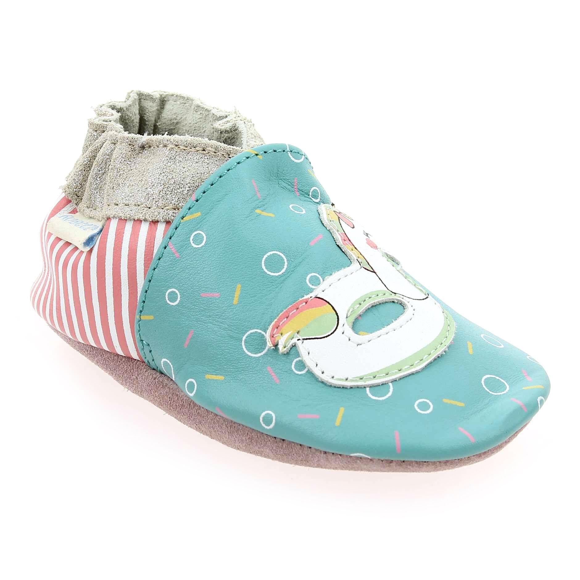 Robeez Promo - Robeez POOL Bleu pour Bébé fille, Enfant fille en Cuir - Cuir - 00-06 mois