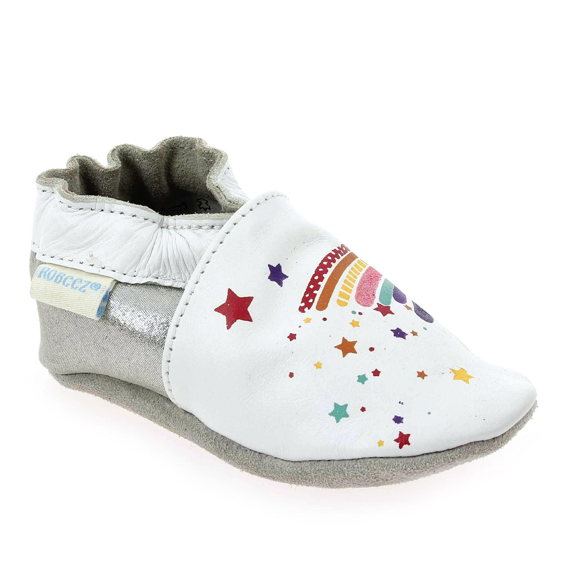 Robeez Promo - Robeez RAINBOW Blanc pour Bébé fille, Enfant fille en Cuir, Cuir velours - Cuir, Cuir velours - 00-06 mois