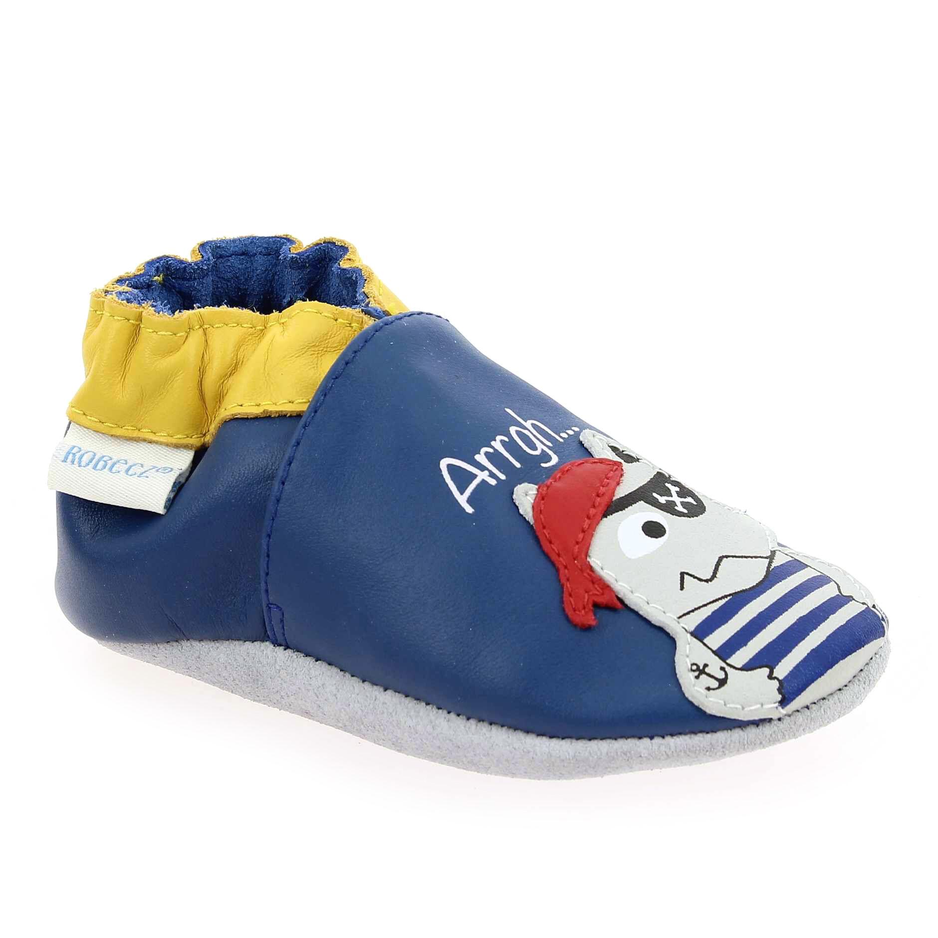 Robeez Promo - Robeez PIRATE WOLF Bleu pour Enfant garçon, Bébé garçon en Cuir - Cuir - 00-06 mois