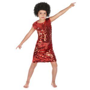 VegaooParty Déguisement disco fille rouge à paillettes - Taille: S 4-6 ans (110-120 cm)