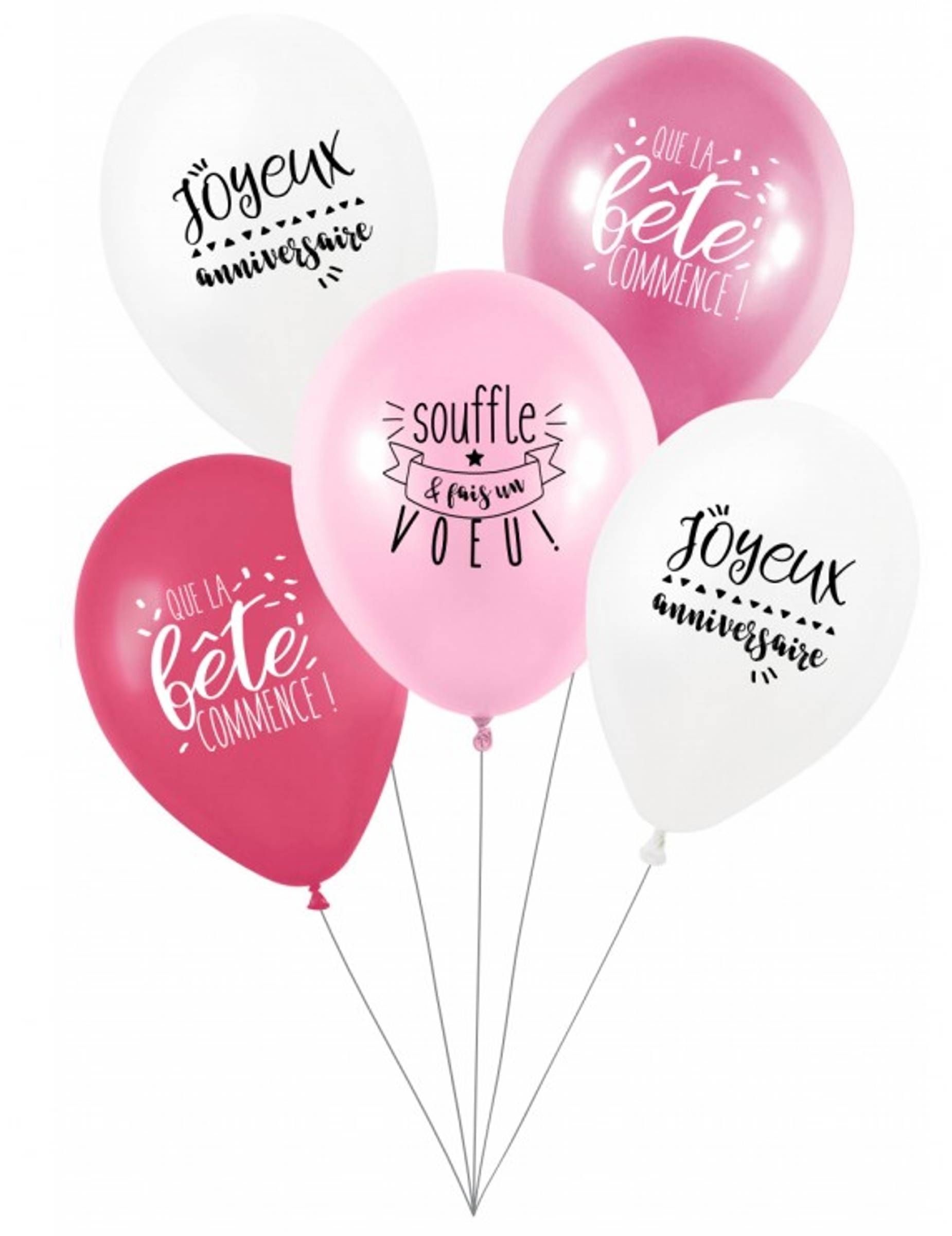 VegaooParty 5 Ballons latex biodégradable Fais un voeu en rose 27 cm
