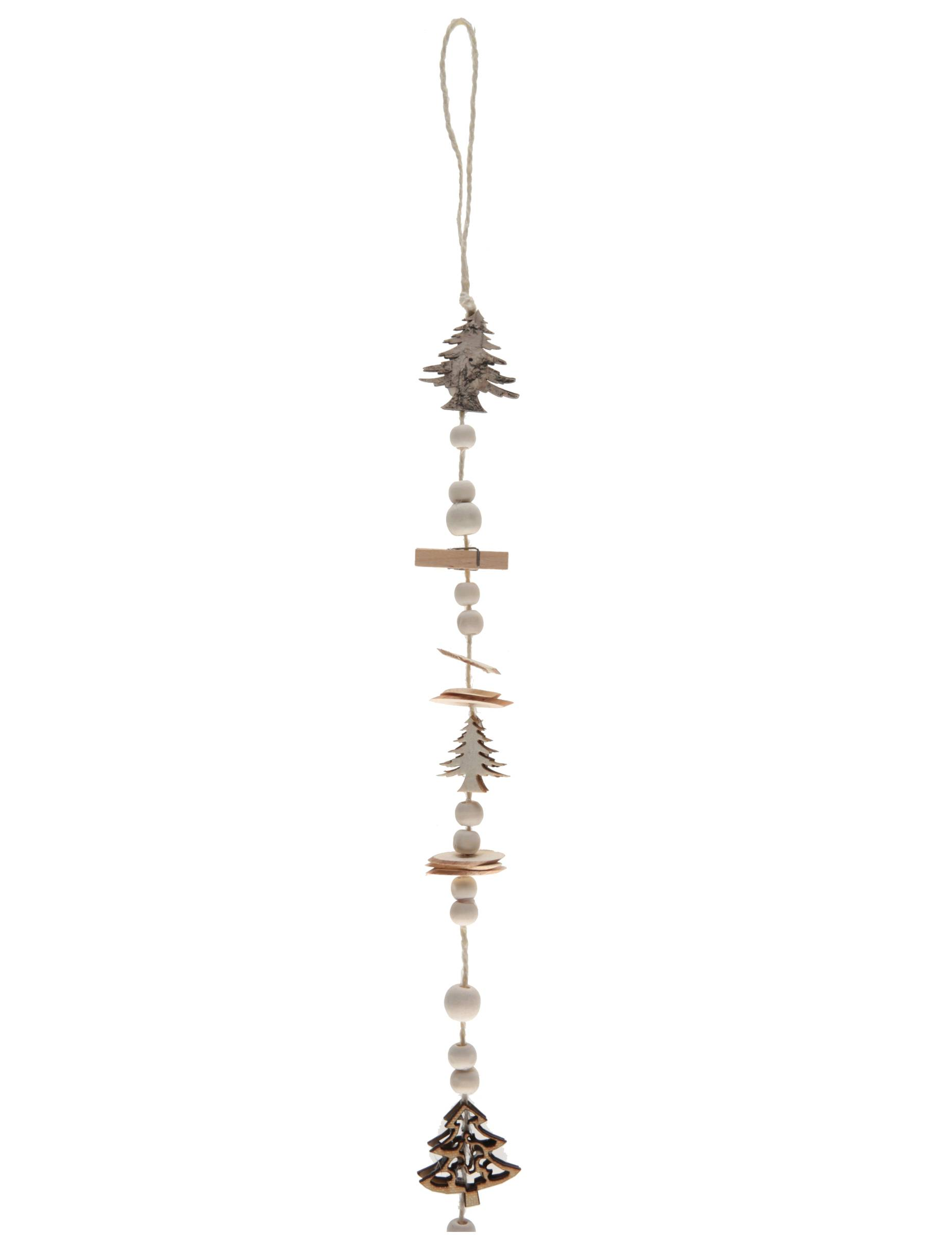VegaooParty Suspension avec perles, pinces et sapins en bois naturel 116 cm