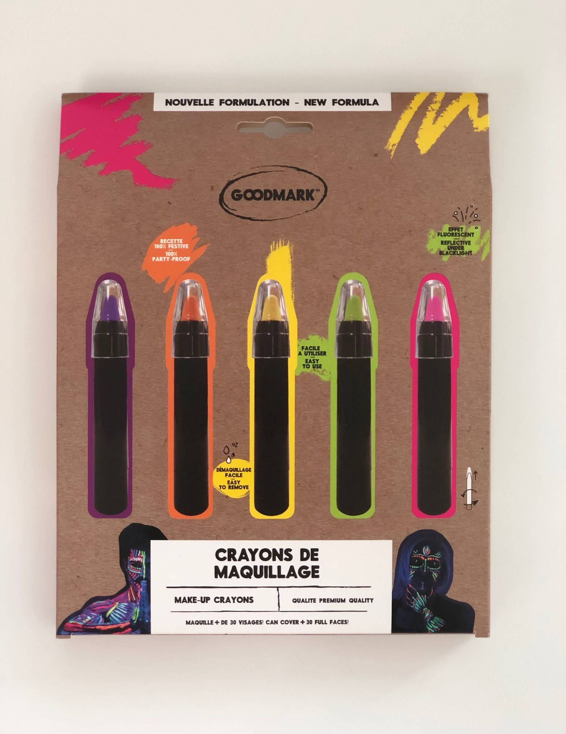 VegaooParty 5 Crayons de maquillage UV 2,8 g