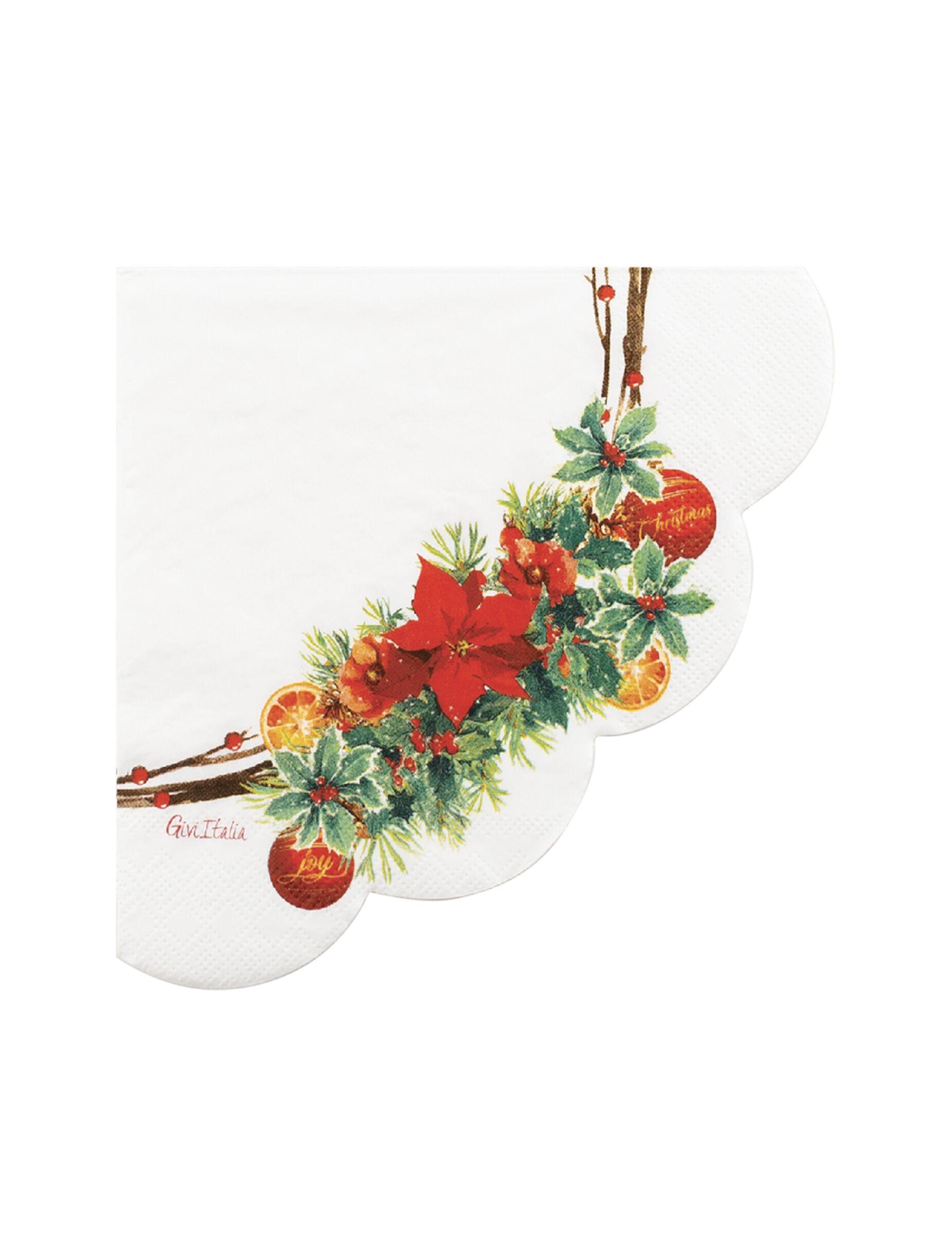 VegaooParty 16 Serviettes en papier joie de noël blanches 33 x 33 cm