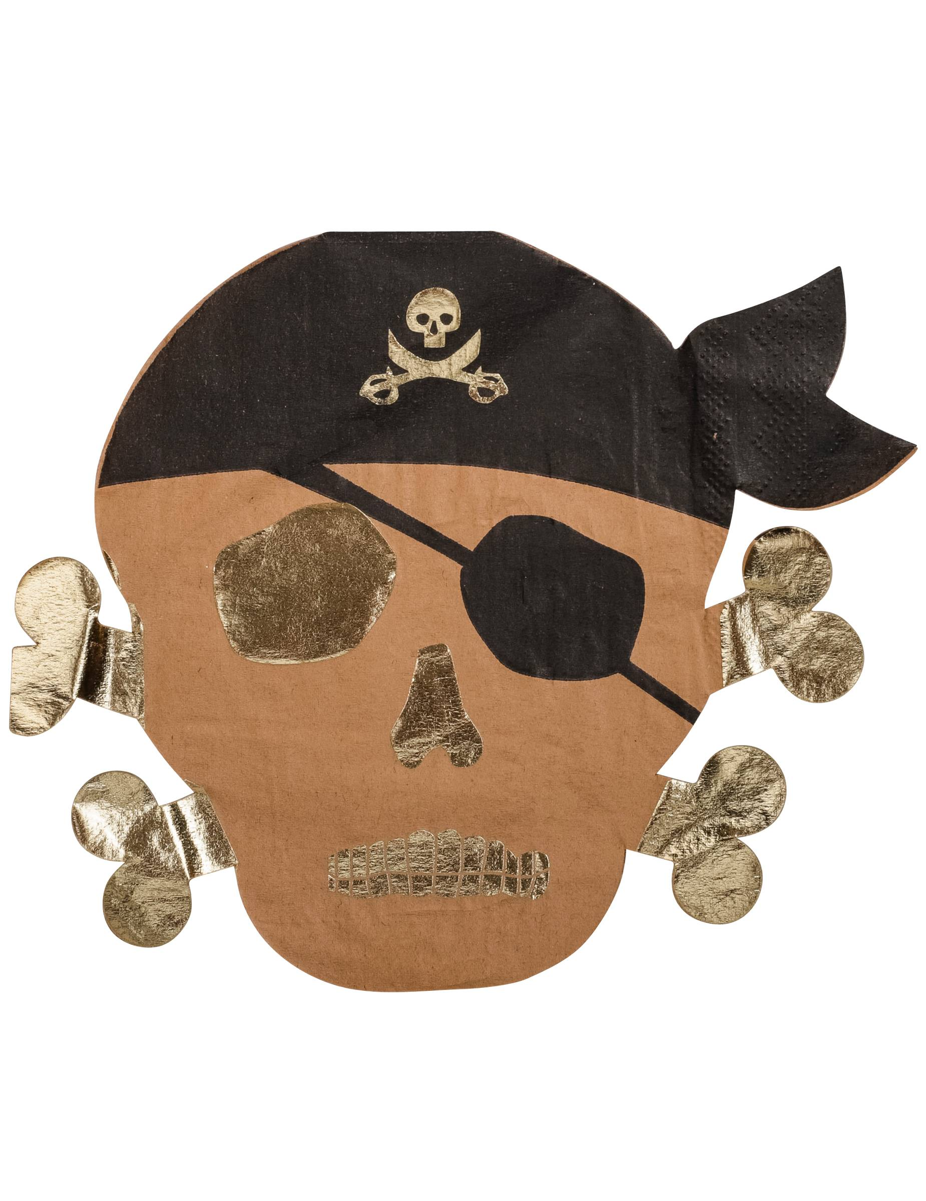 VegaooParty 16 Serviettes en papier Pirate kraft et dorure 33 x 33 cm