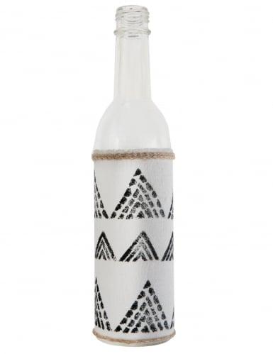 VegaooParty Bouteille en verre Ethnique blanche et noire 25 cm Taille Unique