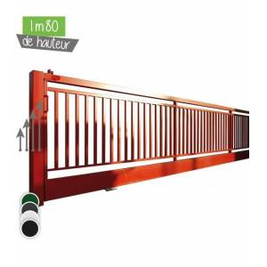 Portail BarrO+ Coulissant Ht 1m80 - Couleur - Noir 9005, Hauteur - Ht 1m80, Passage - 13m00, Pose - en scellement, Type de fermeture - Motorisable avec trappe de visite - Publicité