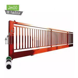 Portail BarrO+ Coulissant Ht 2m00 - Couleur - Vert 6005, Hauteur - Ht 2m00, Passage - 14m00, Pose - en scellement, Type de fermeture - Motorisable avec trappe de visite - Publicité