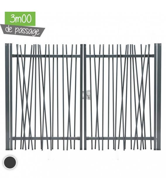 Portail NATURE Largeur 3m00 - Couleur - Blanc 9010, Hauteur - Ht 1m80, Pose - en scellement