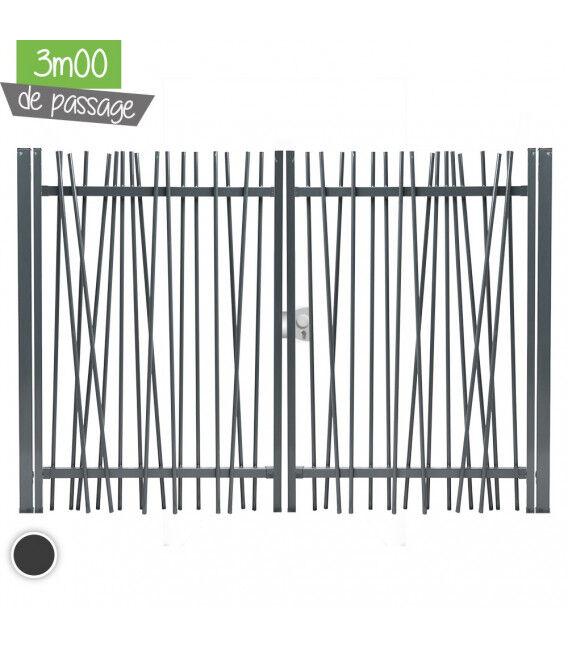Portail NATURE Largeur 3m00 - Couleur - Vert 6005, Hauteur - Ht 1m80, Pose - en scellement
