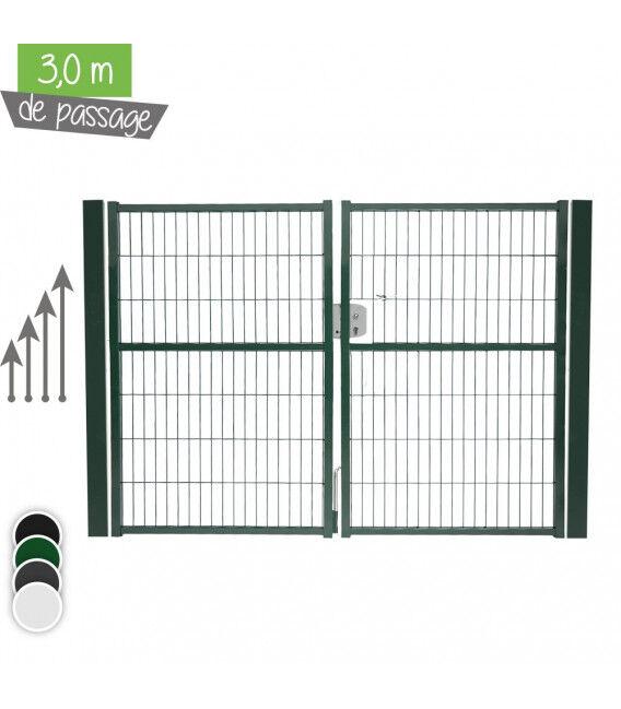 Portail Jardi 2 vantaux 3m00 - Couleur - Vert 6005, Hauteur - Ht 1m00, Pose - sur platine soudée