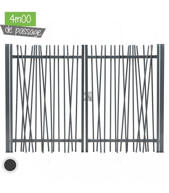 Portail NATURE Largeur 4m00 - Couleur - Blanc 9010, Hauteur - Ht 1m80, Pose - sur platine soudée