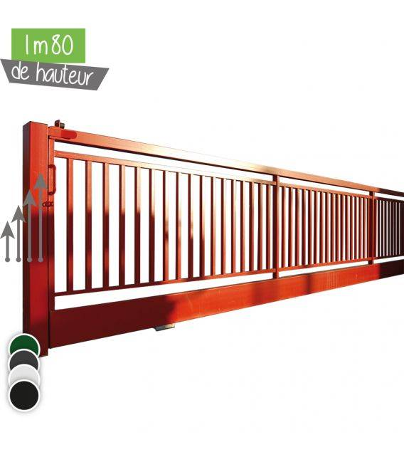 Portail BarrO+ Coulissant Ht 1m80 - Couleur - Vert 6005, Hauteur - Ht 1m80, Passage - 12m00, Pose - sur platine soudée, Type de fermeture - Manuel avec serrure LOCINOX LSKZ U2