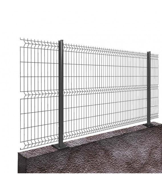 Kit 50ML de grillage rigide sur platines Pro+ (Ø 5/5mm) - Couleur - Gris 7016, Hauteur - Ht 1m53