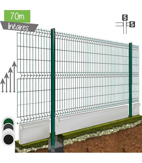 Kit 70ML de grillage rigide avec soubassement (Ø 5/5mm) - Couleur - Vert 6005, Couleur soubassement - Béton, Hauteur - Ht 1m23