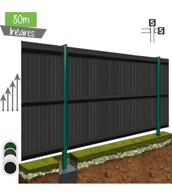 Kit 80ML de grillage rigide avec occultation Pro+ (Ø 5/5mm) - Couleur - Noir 9005, Couleur des lattes PVC - Vert 6005, Hauteur - Ht 1m23