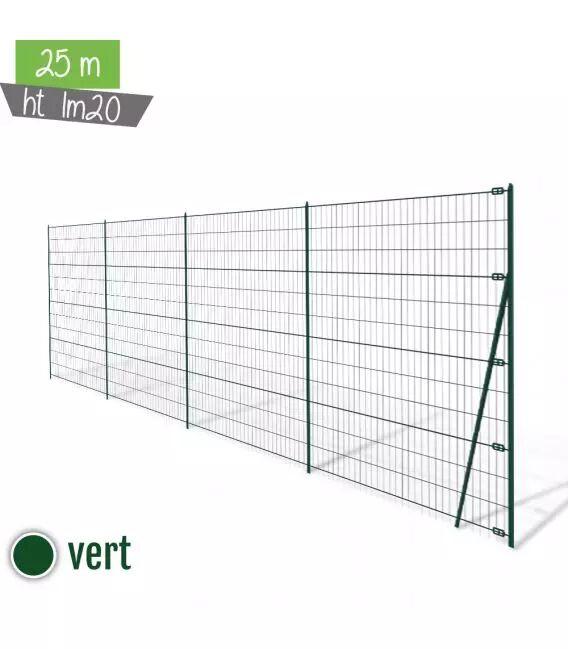 Kit 25ML Grillage Soudé Ht 1m20 - Vert (Ø 2,2mm)