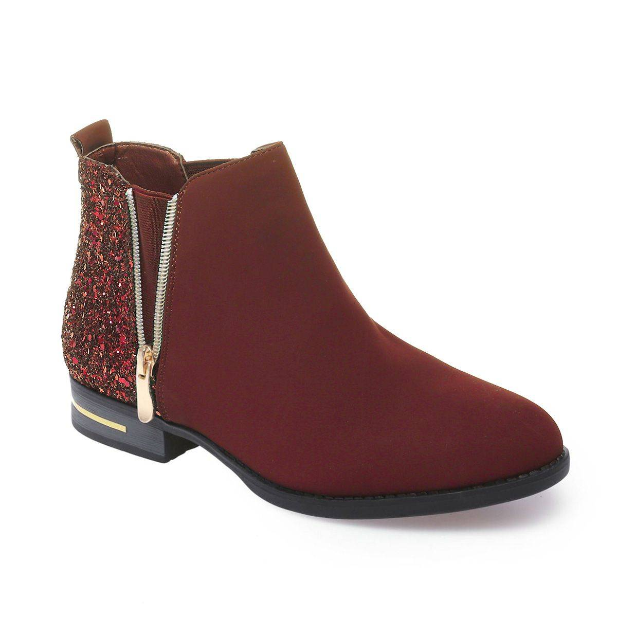 La Modeuse Bottines chelsea à paillettes bordeaux