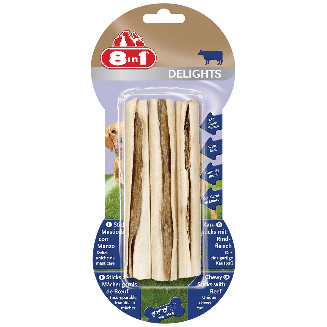 8in1 Delights Sticks à mâcher au bœuf Contenance : 3 pièces