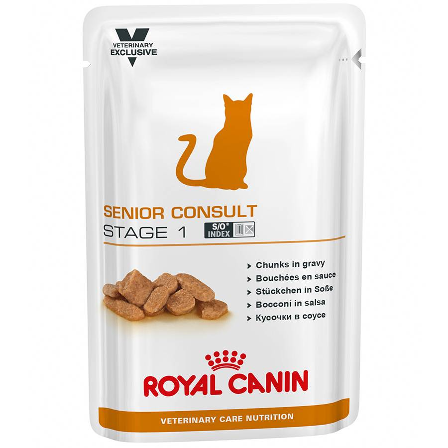 Royal Canin Veterinary Sachets Repas Royal Canin Veterinary Diet Chat Senior Consult Stage 1 Contenance : 12 sachets de 100 g