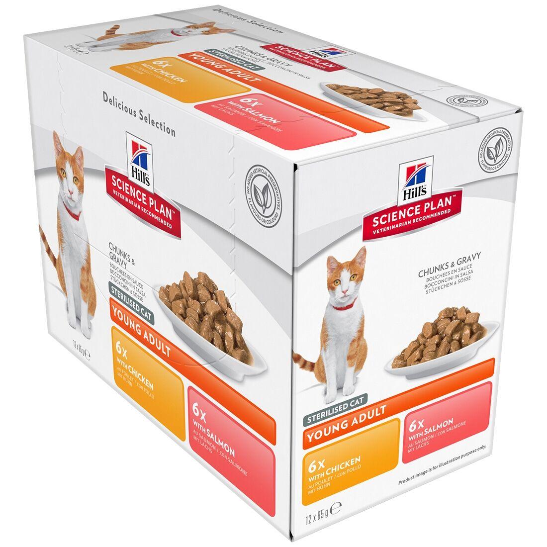 Hill's Science Plan Sachets Repas Hill's Science Plan Feline Young Adult Sterilised Cat Contenance : 12 sachets de 85 g, Saveur : 6 x Chicken + 6 x Salmon
