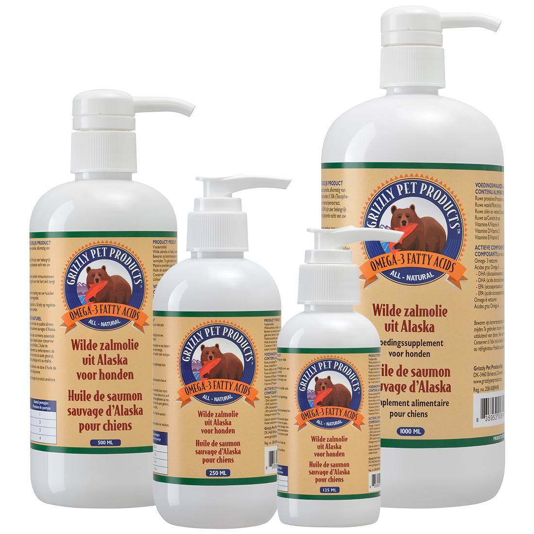Grizzly Huile de saumon sauvage GRIZZLY Contenance : 500 ml