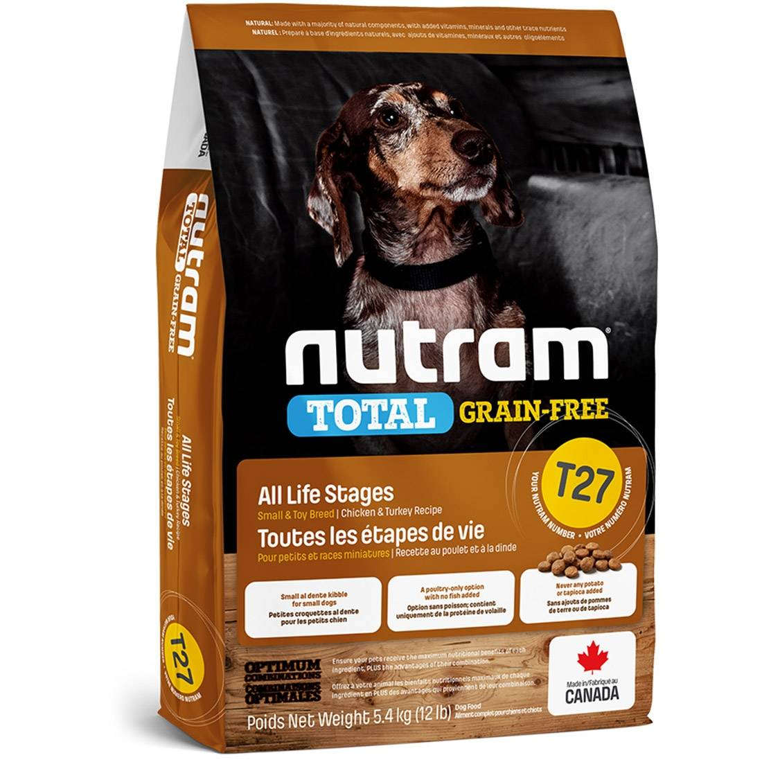 Nutram Croquettes chien Nutram Total Grain-Free T27 Small et Toy Breed Turkey, Chicken & Duck Contenance : 5,4 kg