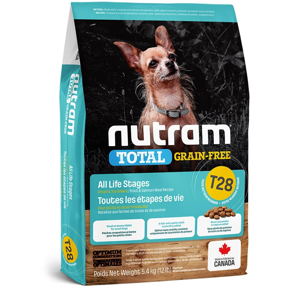 Nutram Croquettes chien Nutram Total Grain-Free T28 Small et Toy Breed Salmon & Trout Contenance : 5,4 kg