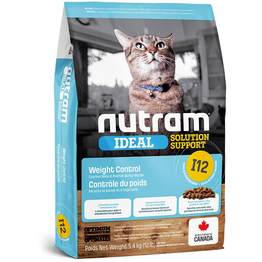 Nutram Croquettes chat Nutram Ideal Solution Support I12 Weight Control Cat Contenance : 1,13 kg