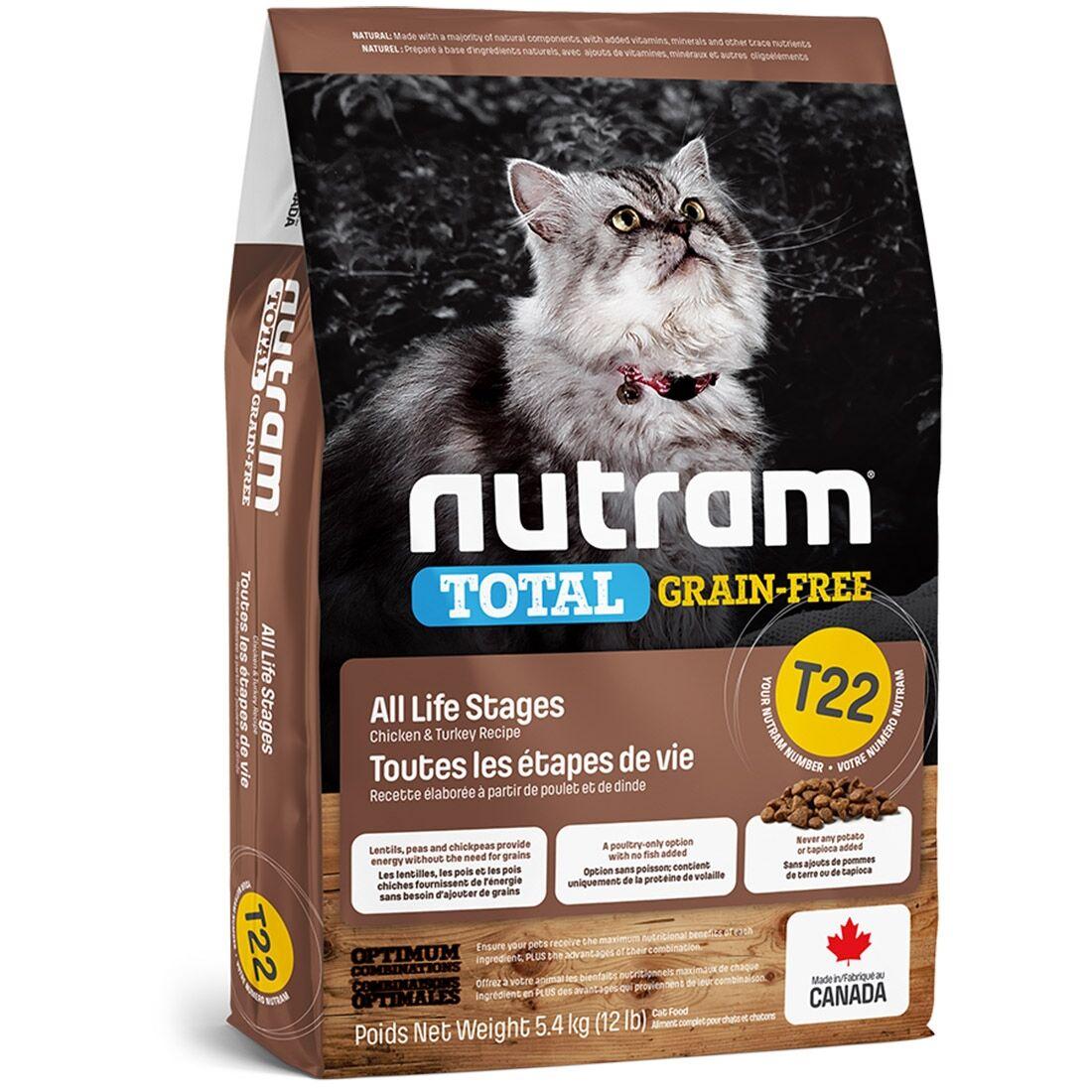 Nutram Croquettes chat Nutram Total Grain-Free T22 Turkey, Chicken & Duck Contenance : 1,13 kg